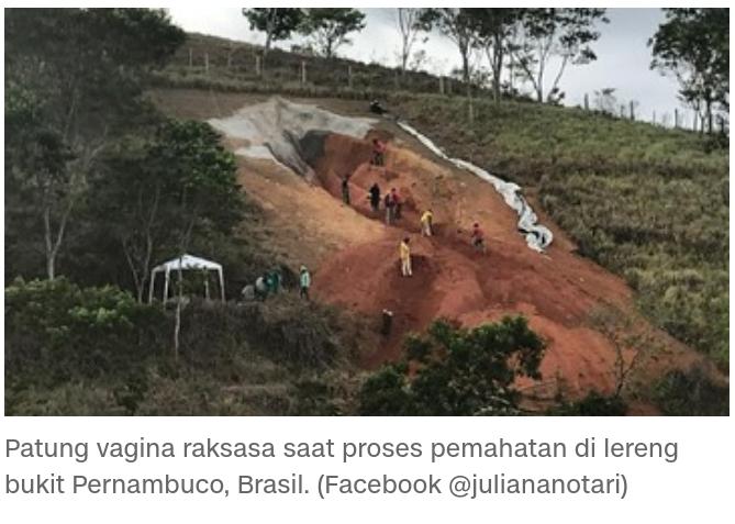 Patung Diva Berbentuk Vagina Raksasa, Diletakkan Di Lereng Bukit Museum Terbuka.