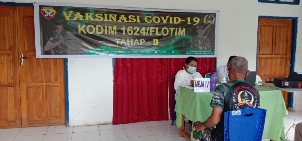 Vaksin Covid 19 Tahap II Bagi Anggota TNI 1624/Flotim Di Lembata Serentak Dilaksanakan.